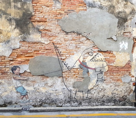 """Little Boy with Pet Dinosaur"", Ah Quee Street, George Town"